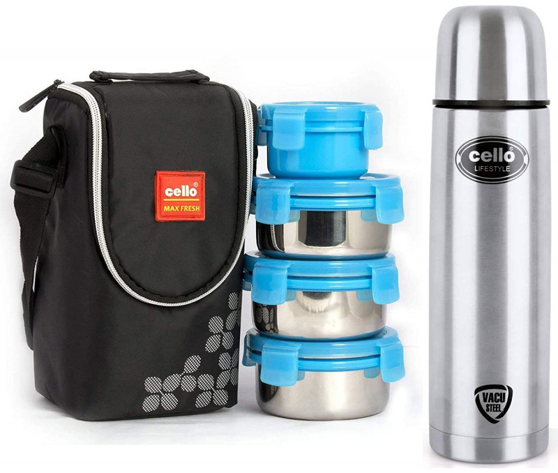 Cello  Stainless Steel Flask 1000ml Cello Max Fresh Click Steel Lunch Box Set 4-Pieces Blue